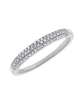 10k White Gold Pave Diamond 3mm Domed Band (0.15 ct)