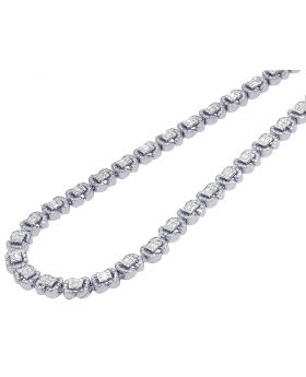 "White Gold 11.75CT Baguette Diamond Halo Link Chain 22"" 8MM"