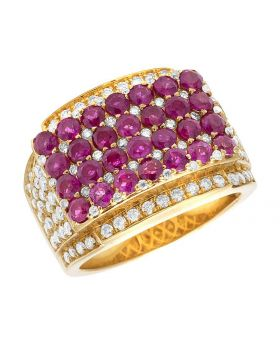 Men's 14K Yellow Gold Real Diamond Ruby Statement Pinky Ring 5.11 CT 16MM