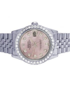 Rolex Datejust 68240 Midsize 31MM Pink Dial Diamond Watch 2.5 Ct