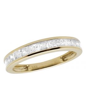 10K Yellow Gold Invisible Princess Genuine Diamond Ring Band 0.50ct 3.5MM