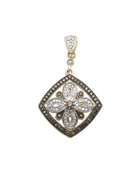 14K Yellow Gold Real Brown Diamond Flower Pendant .50 ct