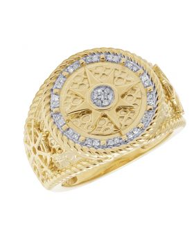 Mens 10K Yellow Gold Diamond Nautical Compass Pinky Ring .20CT