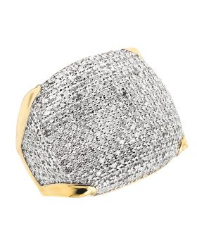 Men's 10K Yellow Gold Pave Iced Real Diamonds Ring 1.50 ct