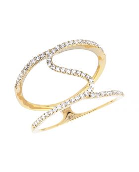 Ladies Yellow Gold Stack and Swirl Orbit Strand Fashion Cocktail Ring (0.50ct)