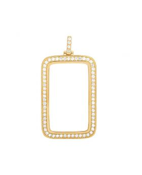 10K Yellow Gold 1 Oz Coin Diamond For Fortuna Bar Bezel Pendant 3.5 Ct 2.4""