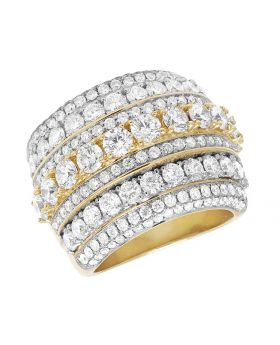 Men's Solid 10K Yellow Gold Diamond 7 Row Solitaire Ring 7 Ct 21MM