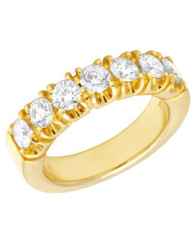 Mens 14K Yellow Gold 1 Row Solitaire Diamond Band Ring 2.3 CT