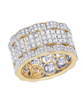 Men's 14K Yellow Gold Diamond Iced Eternity Wedding Band Ring 2.45 Ct 13MM