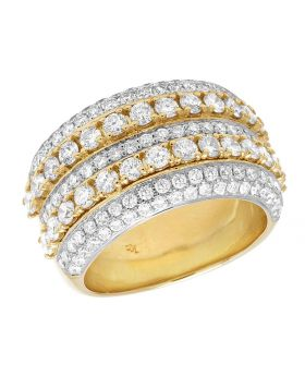 men's Solid 10K Yellow Gold Real Diamond Ring 5.25 Ct 15MM