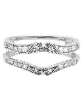 14K White Gold Ring Guard Enhancer Diamond Wedding Band 0.33 ct