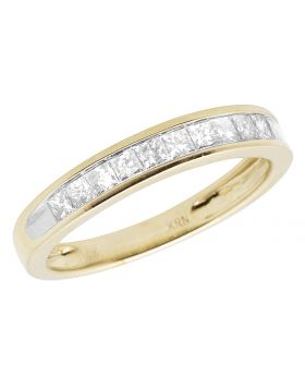 10K Yellow Gold Invisible Princess Genuine Diamond Ring Band 1.0ct 4MM