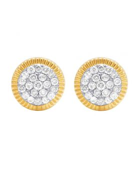 10K Yellow Gold Diamond Fluted Frame Cluster Stud Earring 1.40 Ct 14MM