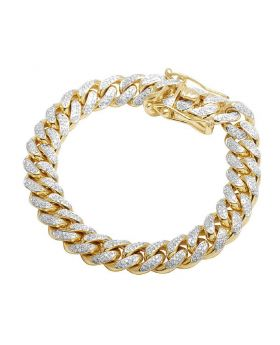 Mens 10K Yellow Gold Miami Cuban  Diamond Bracelet 10MM 4.0 Ct