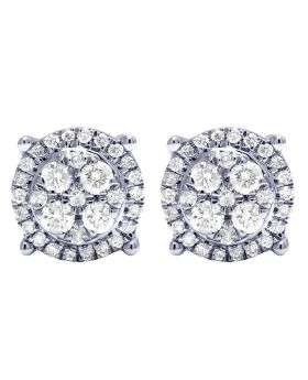 10K White Gold Real Diamond Claw Cluster Earrings 8mm 0.50 CT