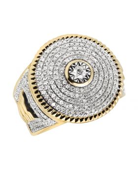 Men's 14K Yellow Gold Genuine Diamonds Round Iced Designer Ring 1.33 ct