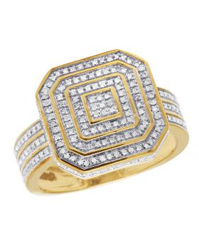 Men's 10K Yellow Gold Diamond Square Pinky Ring 0.50 Ct 16MM