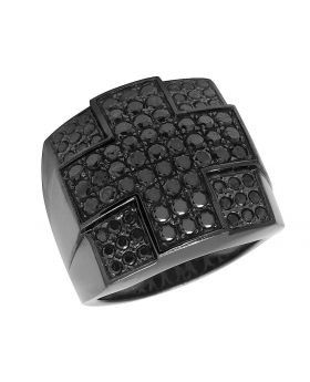 Men's 10K Gold Black Rhodium Diamond Cross Fashion Pinky Ring 2.75 Ct 21MM