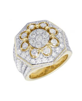 10K Yellow Gold 3D Flower Cluster XL Real Diamond Pinky Ring 6.06CT