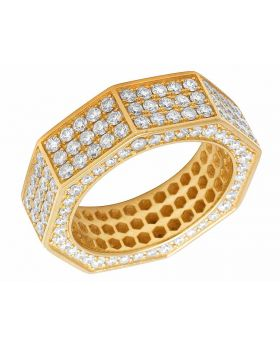 Men's 18K Yellow Gold Genuine Diamond Eternity Octagon 3D Band Ring 4CT 8MM
