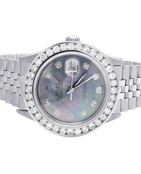 Rolex Datejust 36MM Quickset 16014 Blue MOP Dial Diamond Watch 5.0 Ct