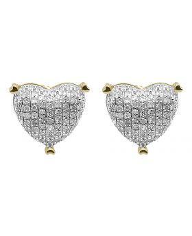 9mm Pave Diamond Puffed Heart Earrings in 10k Yellow Gold (0.33 ct)