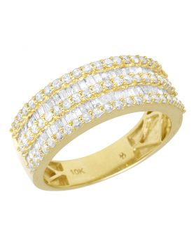 Yellow Gold Baguette Diamond Ring Band 8.5 MM 1.75 CT