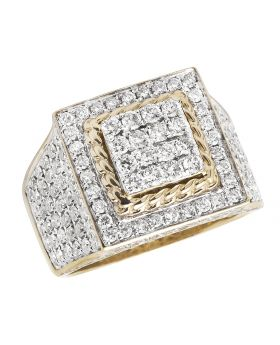 Men's 10K Yellow Gold Square Box Real VS Diamonds 4.0ct Pinky Ring