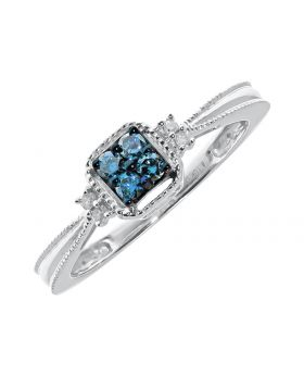 Engagement Ring with Clustered Blue Diamonds (0.15 ct)