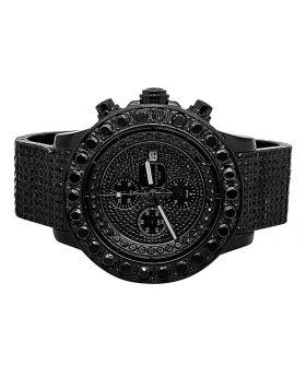 Custom Breitling A13370 Super Avenger Black Diamond Watch (35 Ct)
