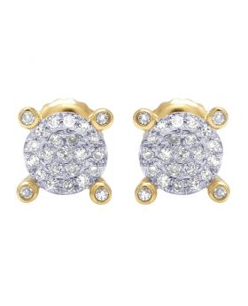 10K Yellow Gold Real Diamond Claw Cluster Earrings 0.25 CT 6mm