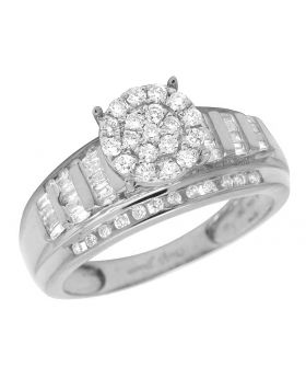 10K White Gold Real Baguette Diamond Cinderella Ring 0.50CT