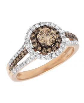 14k Rose Gold Brown Solitaire Diamond Engagement Ring 1.25 ct