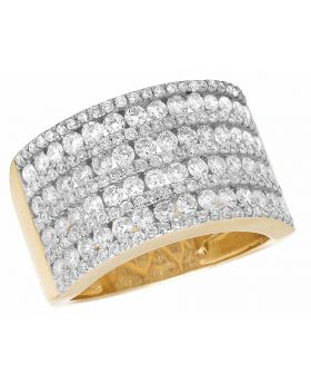 Ladies Men's Channel 14K Yellow Gold Real Diamond Band Ring 2.5 ct