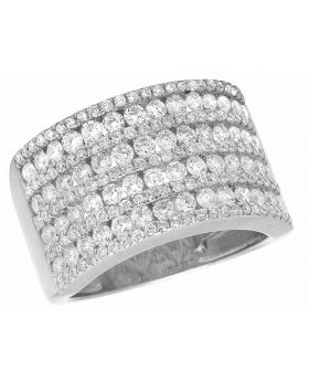 Ladies Men's Channel 14K White Gold Real Diamond Band Ring 2.5 ct