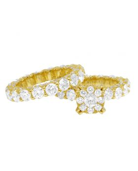 14k Yellow Gold Ladies Solitaire Eternity Flower Cluster Engagement Real Diamond Bridal Ring Set 3.8CT