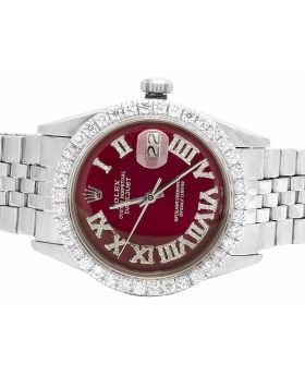 Rolex Datejust 36MM Oyster Perpetual Red Dial Diamond Watch 3.5 Ct
