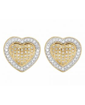 10K Yellow Gold Real Diamond Puff Heart Stud Earrings 1/3 ct 12mm