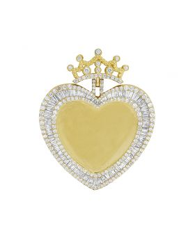 Yellow Gold Memory Frame Heart Baguette Diamond Photo Engrave Pendant 4.25CT