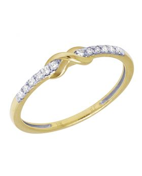 Ladies Yellow Gold Infinity 1 Row Prong Promise Ring Band 0.10 CT