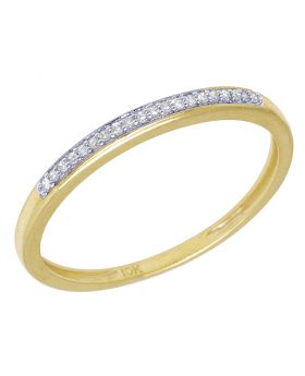 Ladies Yellow Gold 1 Row Prong Promise Ring Band 0.05 CT