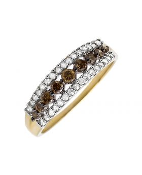 10K Yellow Gold 3 Rows Brown and White Diamond Wedding Ring Band (0.50ct.)