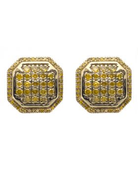 10K Yellow Gold 13MM Octagon Shape Canary Diamond Earring Studs 1.25CT