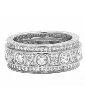 14K White Gold Real Diamond Eternity Love Wedding Band Ring 5.0Ct 10MM