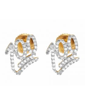 10K Yellow Gold Real Diamond 100 logo Earring Studs 1/4 CT 9MM