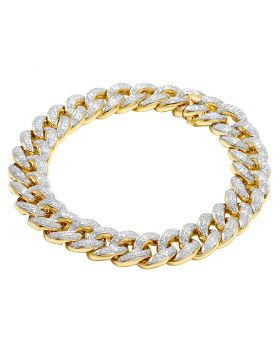 Men's 10K Yellow Gold Miami Cuban Diamond 12MM Bracelet 5.5 CT 8.5""