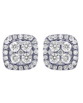 14K Yellow Gold Real Diamond Square Halo Cluster Earrings 9mm 0.78 CT