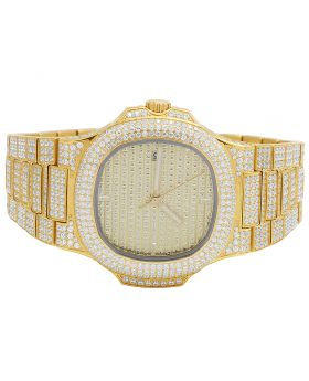 Mens Yellow Steel Iced 40MM PP Simulated Diamond Watch