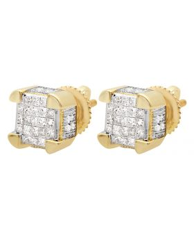 10K Yellow Gold 3D Cube Invisible Diamond Stud Earrings 0.50Ct