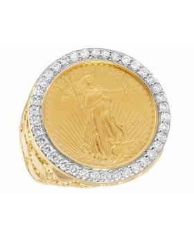 14K Yellow Gold 22K 1/4 OZ Liberty Coin Real Diamond Nugget Ring 1 1/2 CT